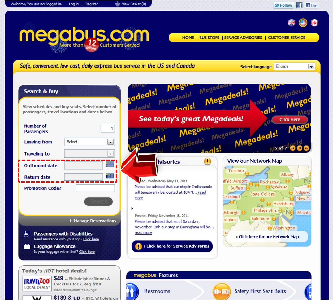 Megabus also run special promotions, free seat offers and money saving vouchers. There's free travel for young children in some circumstances and elderly and disabled users with a Scottish entitlement card travel almost for free in Scotland. All customers can use a promotion .
