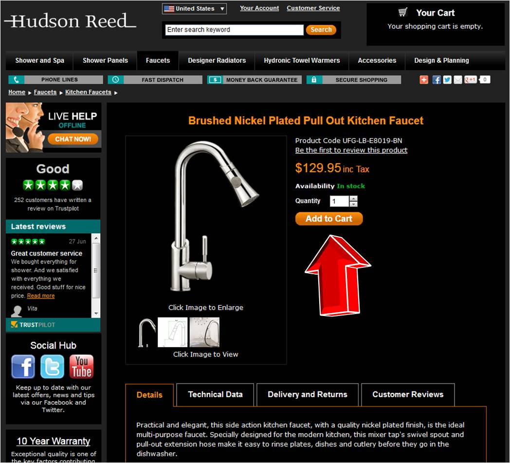How to use a Hudson Reed coupon Receive up to 60% on showers and other plumbing fixtures at Hudson Reed. Design the shower of your dreams while getting discounts and coupons to use on future orders. Sign up to receive a newsletter or find offers on social media pages. There are links on the website that give you free shipping on your orders.