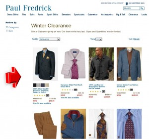 List of Paul Fredrick Winter Clearance Promotion