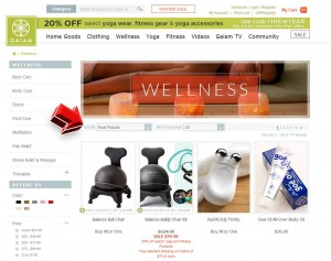 List of Wellness Products from Gaiam website