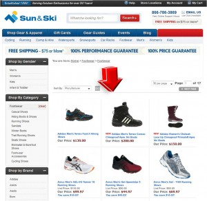 List of Footwear from Sun & Ski