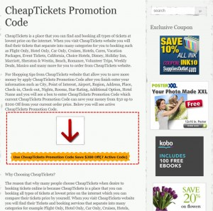 Step1 to Apply CheapTickets Promotion Code