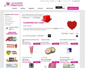 List of Valentines Day Sale from Cosmetic America