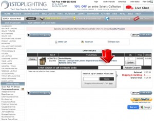 Step4 to Enter 1StopLighting Coupon Code
