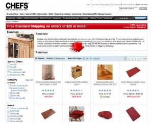 List of Furniture from Chefs Catalog